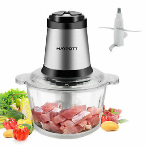 Electric Grinder Food Chopper Meat Processor W 2l Bpa free Glass Bowl 4 Blades