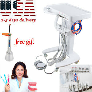 4 hole Dental Delivery Mobile Cart Unit Equipment No Compressor Tool gift Us