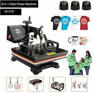 Combo Kit Sublimation Swing Away 8 In 1 Heat Press Machine For T shirts 15 x15