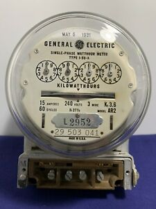 Vintage Ge Watthour Model Ar 2 Meter Type I 50 a May 6 1981