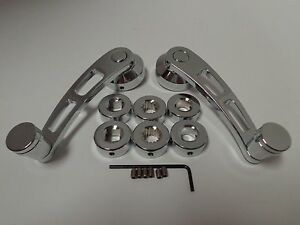 Chrome Billet Aluminum 4 1 4 Window Crank Handle Kit Hot Rod Chevy Ford Chrysler