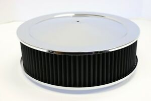 14 X 4 Round Chrome Black Washable Air Cleaner Drop Base Ford Chevy Sbc 350