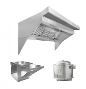 Hoodmart 4 x48 low Ceiling Sloped Front Restaurant Hood System W psp Makeup Air