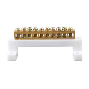 Copper Neutral Bar 10 Holes Ground Terminal Row Distribution Cabinet Wire Screw