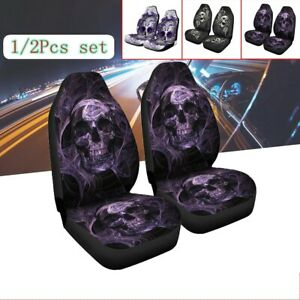 Skull Print Universal Comfort Car Autos Truck Front Seat Cover Cushion Protector