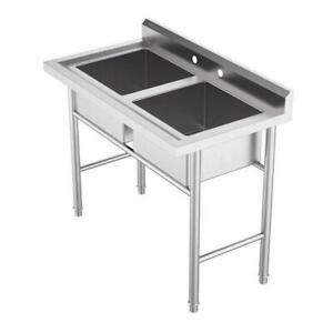 2 Compartment Commercial Sink For Garage Restaurant Kitchen Stainless Steel