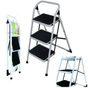 Non Slip 3 Level Step Stool Folding Ladder Safety Tread Kitchen Portable