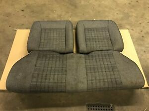 87 89 Ford Mustang Smoke Gray Rear Seats W Red Stitching Hatch Tweed Cloth Oem