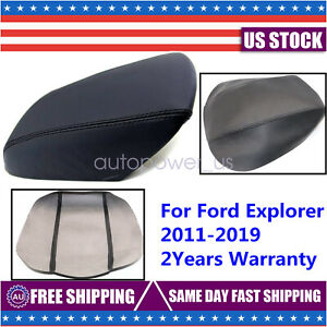 For 2011 2019 Ford Explorer Black Real Leather Center Console Lid Armrest Cover