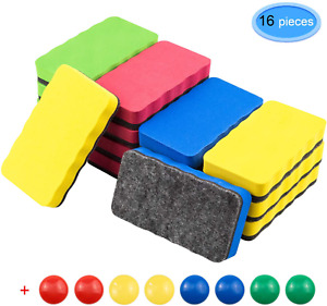 Eaone 16 Pack Magnetic Whiteboard Dry Eraser With 8pcs Whiteboard Magnets Chalk