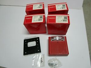 Lot Of 4 Cooper Wheelock As 24mcw fr Fire Alarm Audible Horn Strobe 129024