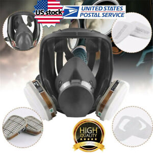 6800 Full Face Gas Mask 7 In 1 Facepiece Respirator For Painting Spraying Safe