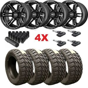 20x12 Gloss Black Wheels Rims Tires 33 12 50 20 Wrangler Gladiator Fuel Mud M T