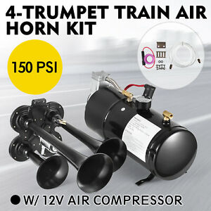 4 Trumpet Train Air Horn Kit 12v 150psi 3liters 150db Compressor Car Train Truck