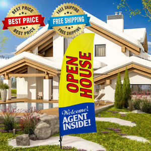 Open House Swooper Flag And Pole Kit Real Estate Signs Advertising Feather Flag