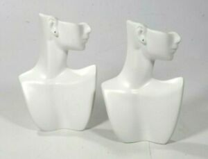 Earring Necklace Display White Matte Resin Side Face Mannequin Bust Lot Of 2