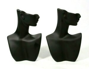 Earring Necklace Display Black Matte Resin Side Face Mannequin Bust Lot Of 2