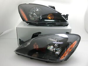 Headlights Headlamps Black Left Right Pair Set For 04 07 Lancer