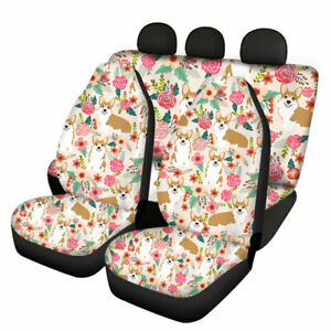 Cute Corgi Printed Car Seat Covers Full Set Front And Rear Bench Seats Cover