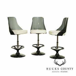 Mid Century Modern Smoked Lucite Chrome And Black Set 3 Swivel Bar Stools