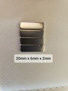 Pack Of 4 Silver Neodymium Magnets 20mm X 6mm X 2mm