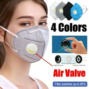 Kn95 Face Mask Covering Guard With Air Breathing Valve 5 Layer Pm2 5 Filter