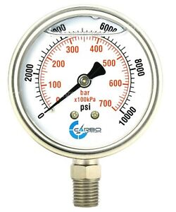 2 1 2 Pressure Gauge Stainless Steel Case Liquid Filled Lower Mnt 10000 Psi