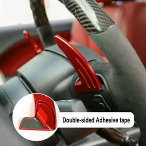 Red Cnc Billet Steering Wheel Paddle Shifter Extension Covers For Dodge Chrysler