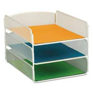 Safco Desk Tray Three Tiers Steel Mesh Letter White 073555327199