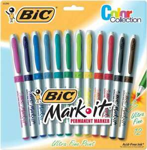 Bic Mark it Ultra Fine Point Permanent Markers 12 pkg Assorted Co 070330332904