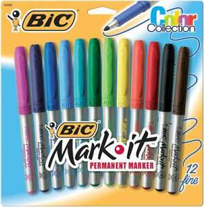 Bic Mark it Fine Point Permanent Markers 12 pkg Assorted Colors 070330325920