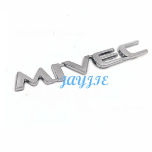 Silver Mivec Car Rear Tailgate Logo Trunk Emblem Stickers Fit For Mitsubishi
