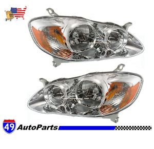 For 2005 2008 Toyota Corolla Ce Le Right Left Side Rh Lh Headlight Lamp Pair