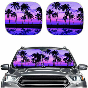 Foldable Car Front Window Sun Shades Summer Ray Protection For Windshield 2 Pack