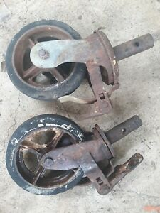 2 Antique Vintage Industrial Factory Wheel Casters 8 Dia