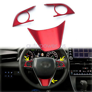 3pcs New Red Steering Wheel Decoration Cover Trims For Toyota Camry 2018 2020