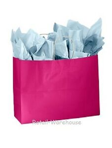 Paper Shopping Bags Gift 100 Glossy Cerise Reddish Pink Merchandise 16 X 6 X 12
