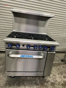 36 Gas Range 6 Open Flame Burner Standard Oven Stainless Imperial Ir 36 4746