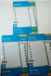 New Day timer Lined Note Pads Loose leaf Size 4 5 5 X 8 5 6 Pads Of 24 Sheets