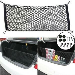 Universal Rear Cargo Trunk Storage Organizer Net For Car Plus Mounting Points