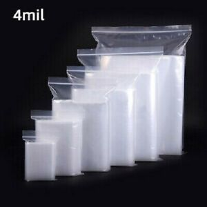 2x3 To 24x24 Clear Zipper Seal Zip Lock Top Reclosable Poly Plastic Bags 4 Mil