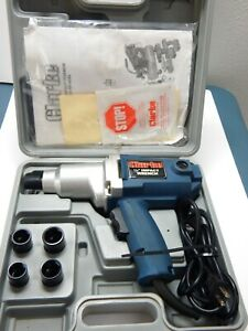 Clarke Electric 1 2 Impact Wrench Kit 4 sockets 2 pc Carbon Brush Case Manual