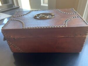 1820 Leather Brass American Trunk With Maker Label A Rare Original Vintage 1820