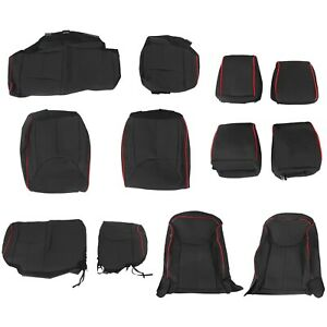 Synthetic Leather Seat Covers For 2013 2018 Jeep Wrangler Jk 4 Door Black Red