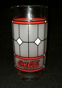 Vintage Coca Cola Drinking Glass Tiffany Style Coke Frosted Stained Glass