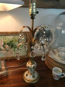 Vintage Italian Florentine Tole Table Lamp With Crystals