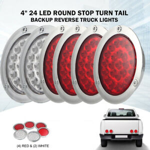 4 Inch 24 Led Round Stop Turn Tail Backup Truck Light Kit 4 Red 2 White New
