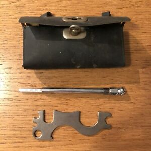 Vintage Leather Bike Pouch With Tire Pressure Gauge And Multi tool Bicycle