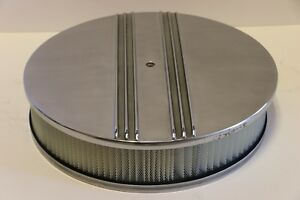 Half Finned 14 X 3 Round Polished Aluminum Air Cleaner Filter Chevy Sbc Bbc