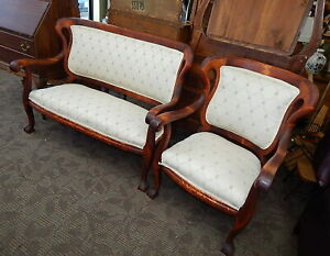 Antique American Empire Mahogany Settee Bench Couch W Chair Refinished